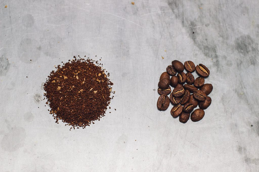 How to brew the perfect cup of pour-over coffee. Step 1 boil kettle and grind coffee.