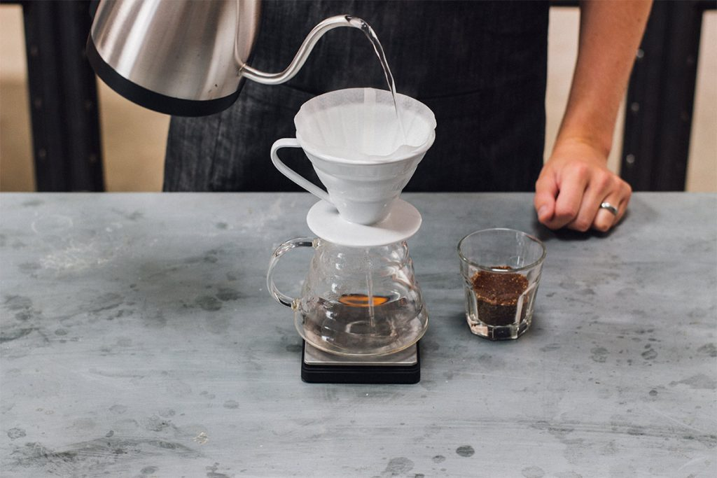 How to brew the perfect cup of pour-over coffee. Step 2 rinse the filter.
